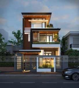 mau biet thu 3 tang 10 272x300 - Mẫu thiết kế nhà phố 7x17m