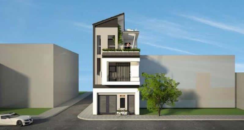 nha pho 3 tang mai lech chau au 6x14m - Mẫu thiết kế nhà phố 6x17m
