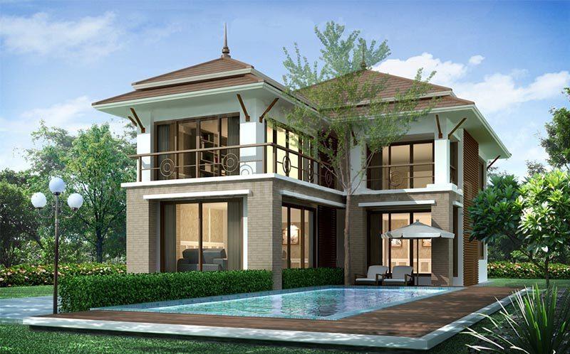 thết biệt thự 3 tầng có bể bơi 3 1 - 45 Mẫu nhà 2 tầng mái ngói đẹp được nhiều kts lựa chọn thiết kế