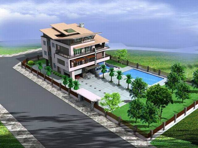 thết biệt thự 3 tầng có bể bơi 3 - Biệt thự 3 tầng với kiến trúc hiện đại có nhiều cây xanh