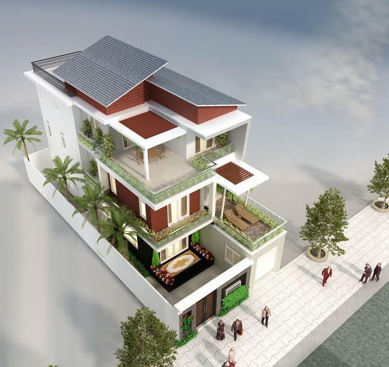 thiết kế biệt thự 2 tầng mái lệch - Thiết kế nhà 3 tầng đẹp