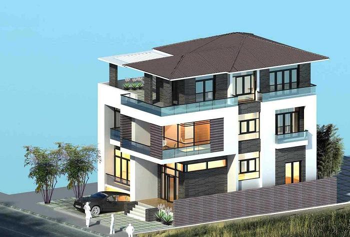 thiết kế biệt thự 3 tầng 120m2 1 - Biệt thự 3 tầng với kiến trúc hiện đại có nhiều cây xanh