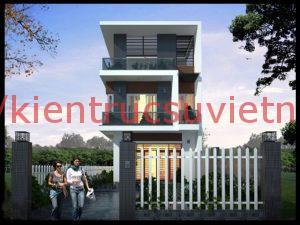 thiết kết nhà 3 tầng 900 triệu 2 300x225 - Mẫu thiết kế nhà phố 7x20m