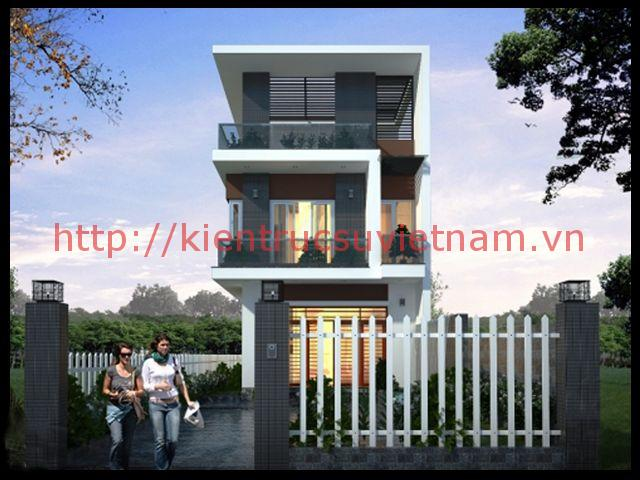 thiết kết nhà 3 tầng 900 triệu 2 - Mẫu thiết kế nhà phố 6x18m