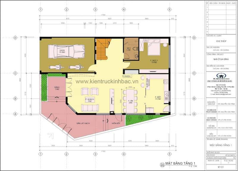 thiet ke biet thu hien dai 3 tang - Công trình thiết kế biệt thự hiện đại góc phố 3 tầng đẹp chị Thuỷ - Chí Linh, Hải Dương