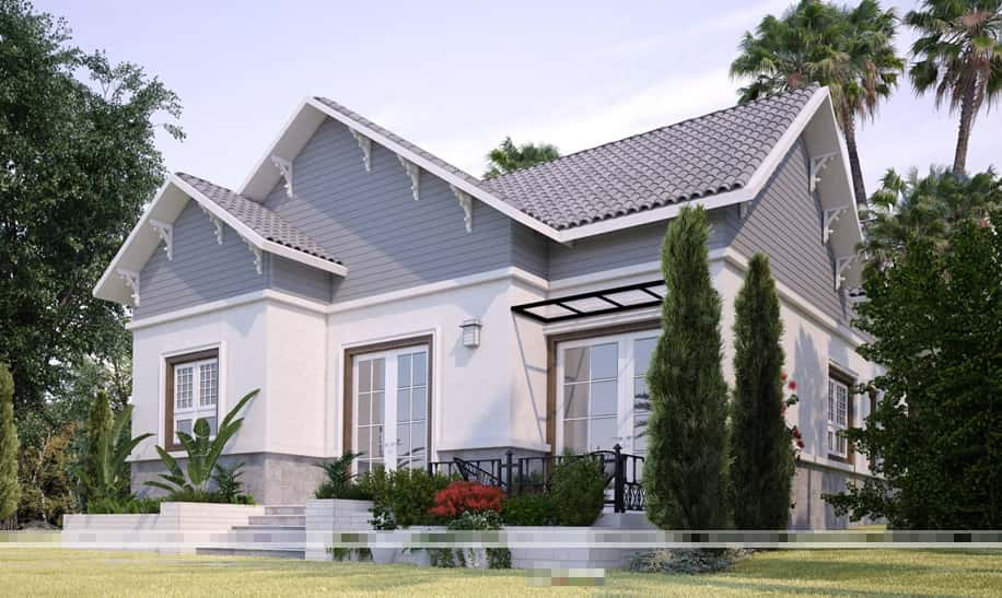 thiet ke biet thu nha vuon 1 tang 200m2 - Dự án biệt thự 1 tầng sân vườn đẹp với diện tích 250m2 đẹp