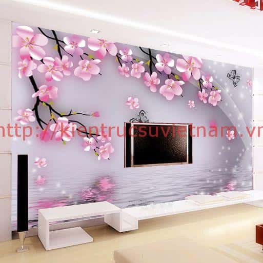 tranh tuong 3d phong khach ms001 - Vẽ tranh tường phòng khách đẹp