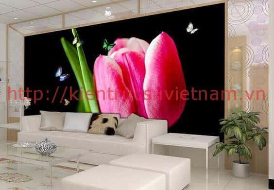 tranh tuong 3d phong khach ms004 - Vẽ tranh tường phòng khách đẹp