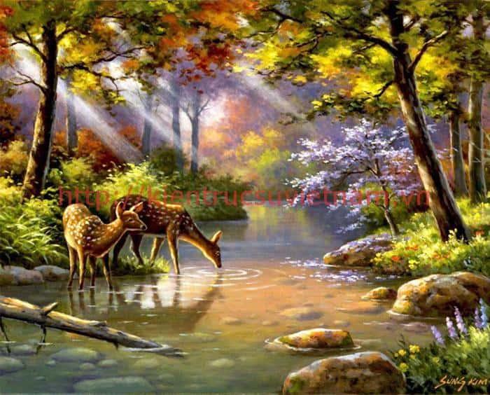 tranh tuong phong canh lang man ms001 - Tranh tường phong cảnh lãng mạn