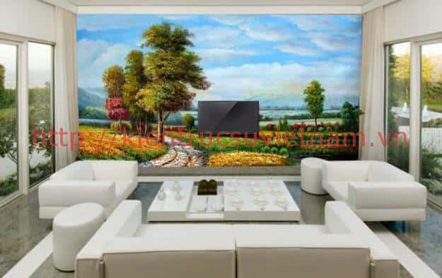 tranh tuong phong khach 002 - Vẽ tranh tường phòng khách đẹp