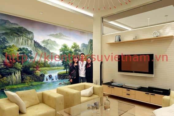 tranh tuong phong khach 004 - Vẽ tranh tường phòng khách đẹp