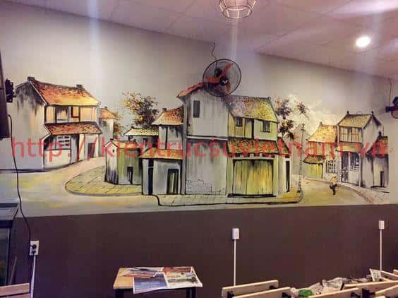 tranh tuong quan cafe - Vẽ Tranh tường quán karoke sinh động hấp dẫn