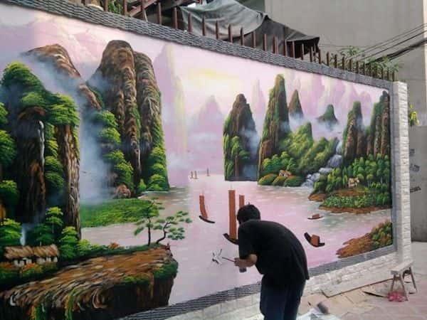 ve tranh tuong 0206 - Tranh tường phong cảnh lãng mạn