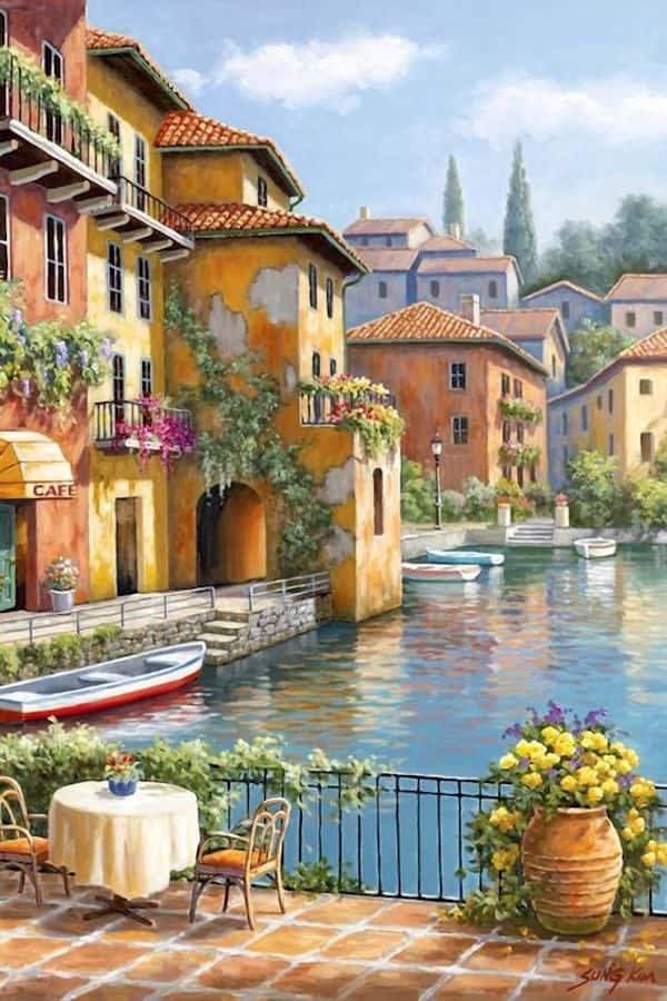 ve tranh tuong 020b - Vẽ tranh tường phòng khách đẹp