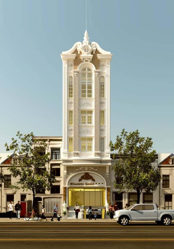 khach san co dien 15a - Thiết kế khách sạn mini