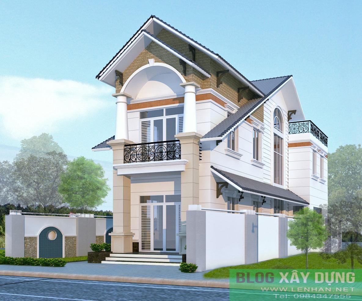 Bản vẽ thiết kế nhà mái thái 2 tầng đẹp trên diện tích 4.7x18m - Thiết kế nhà 3.5 tầng cô Loan chú Sơn Đà Nẵng