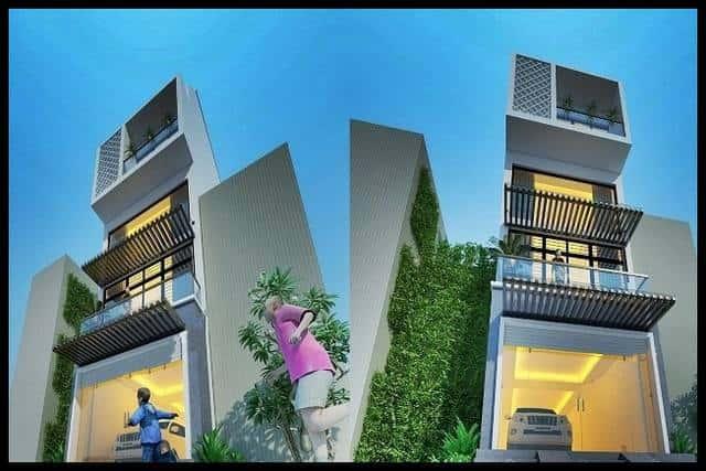 mau nha pho 4 tang hien dai 5x15 - Thiết kế nhà 3.5 tầng cô Loan chú Sơn Đà Nẵng