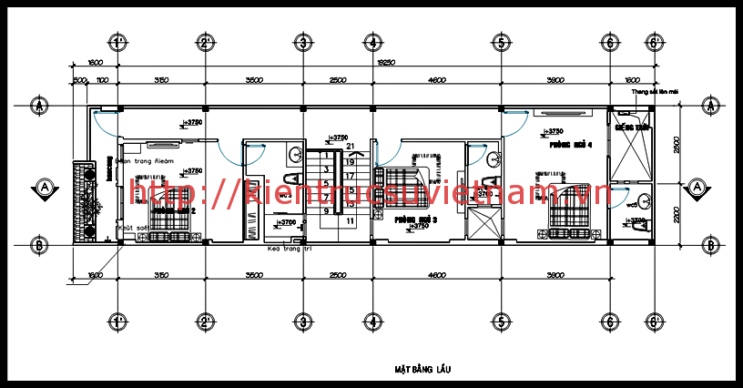 bản vẽ thiết kế nhà ống 2 tầng mặt tiền 5m