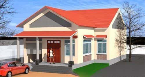 Mẫu thiết kế nhà cấp 4 với diện tích 7x15m