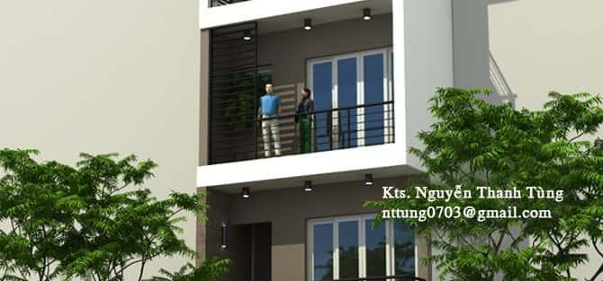 Thiết kế nhà trong ngõ 4,5 x 15 m