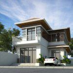 Biệt thự 2 tầng chữ L 150x150 - Thiết kế nhà Đà Nẵng