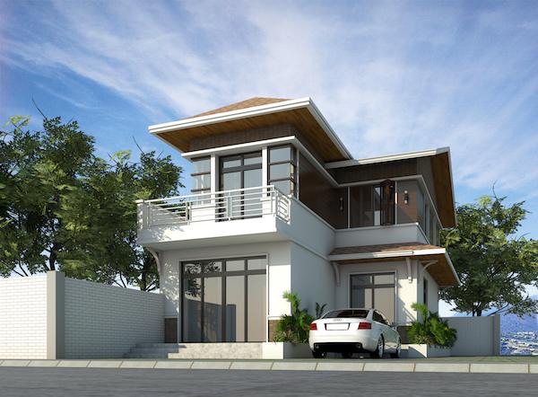 Biệt thự 2 tầng chữ L đẹp với phong cách hiện đại