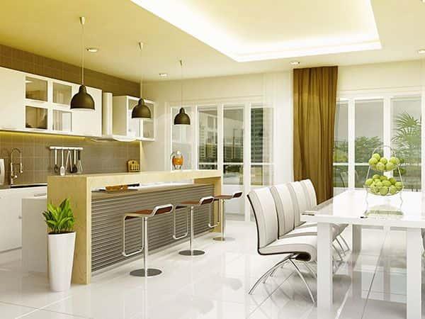 Image result for Cách trang trí phòng bếp nhỏ có giải phân cách giữa bếp và phòng ăn tách biệt