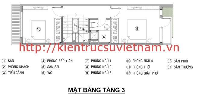 nhà ống lệch tầng mặt tiền 4m 3 1 - Bản vẽ cad thiết kế nhà phố 3 tầng diện tích 5x8 lệch tầng