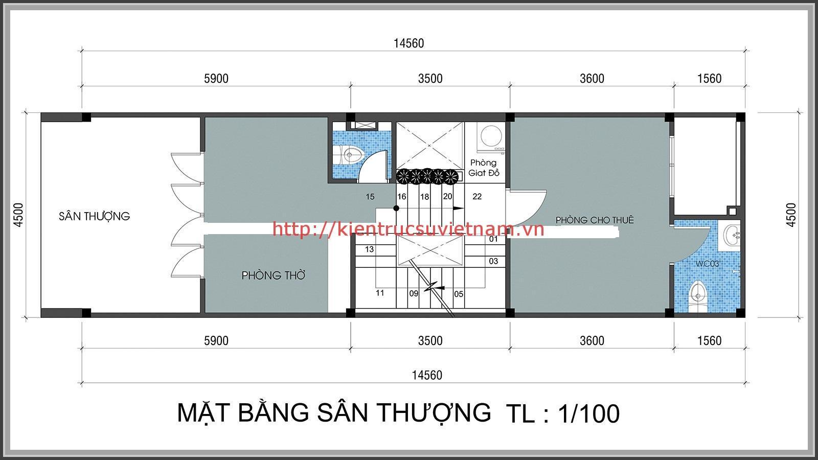 nhà ống lệch tầng mặt tiền 4m 3 - Bản vẽ cad thiết kế nhà phố 3 tầng diện tích 5x8 lệch tầng