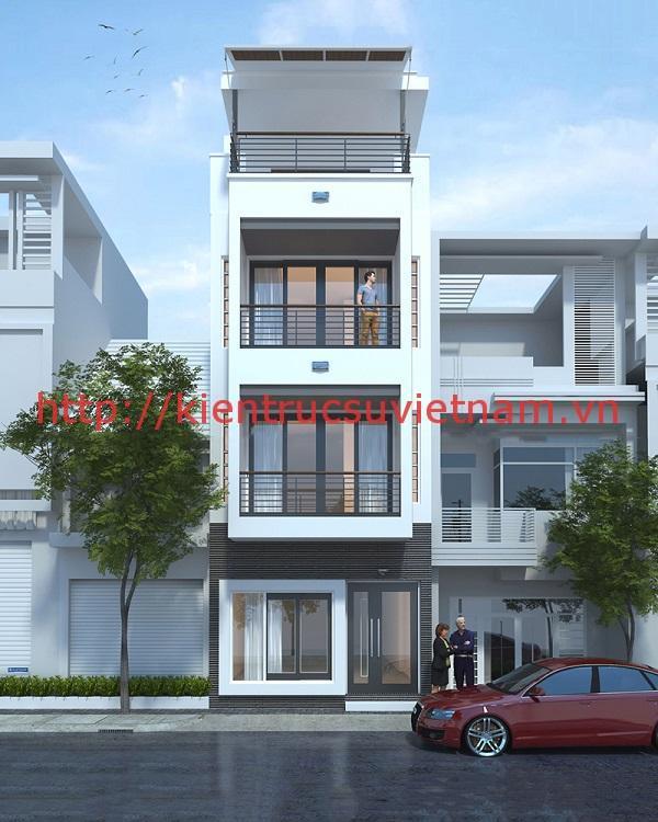 nhà phố mặt tiền 5m 1 - Bản vẽ cad thiết kế nhà phố 3 tầng diện tích 5x8 lệch tầng