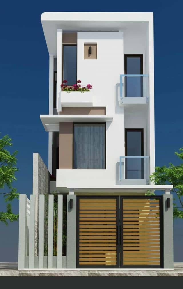 nha ong 3 tang 60m2 don gian dep - Thiết kế nhà 4 tầng đẹp