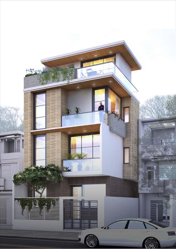 mau nha 3.5 tang NHA MS LAN  - Thiết kế nhà phố 3.5 tầng chị Lan quận 9