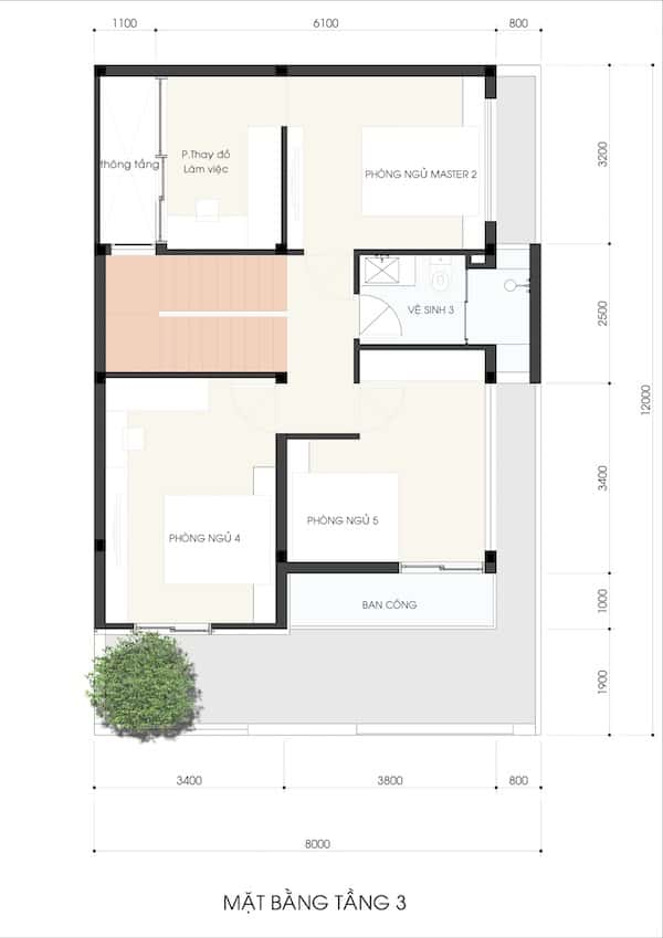 mau nha 3.5 tang NHA MS LAN 2 - Thiết kế nhà phố 3.5 tầng chị Lan quận 9
