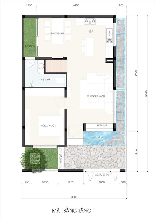 mau nha 3.5 tang NHA MS LAN 3 - Thiết kế nhà phố 3.5 tầng chị Lan quận 9