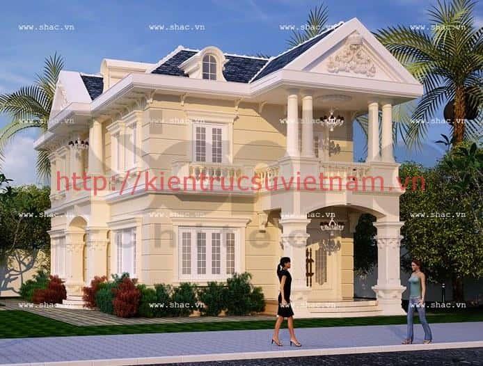 biet thu 2 tang kieu phap dep - Thiết kế biệt thự 2 tầng kiểu pháp