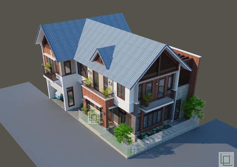 biet thu dep 1 - Các dự án thiết kế biệt thự mái thái đẹp đã thực hiện