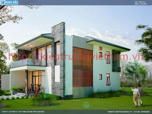 phoi canh nha 2 tang hien dai p - Thiết kế nhà 2 tầng đẹp