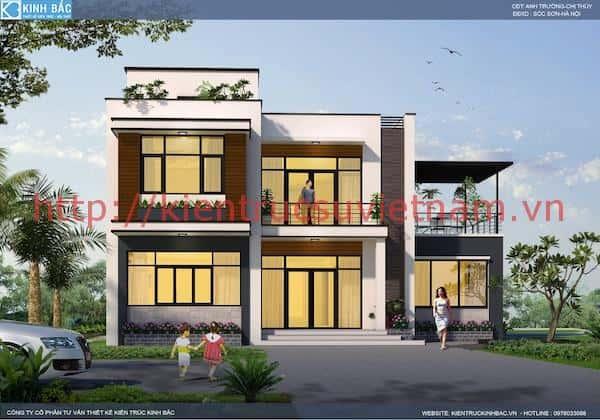 biet thu 2 tang chi thuy soc son 2a - Thiết kế biệt thự 2 tầng hiện đại