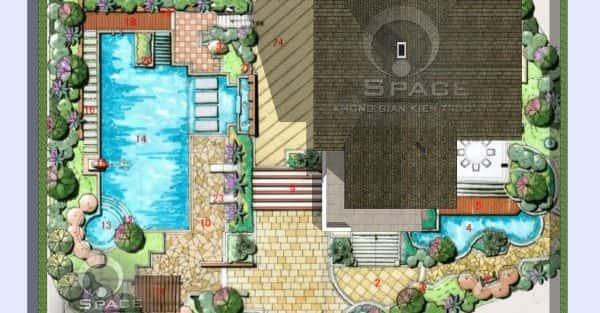 Mặt bằng kiến trúc nhà vườn 1 tầng đẹp