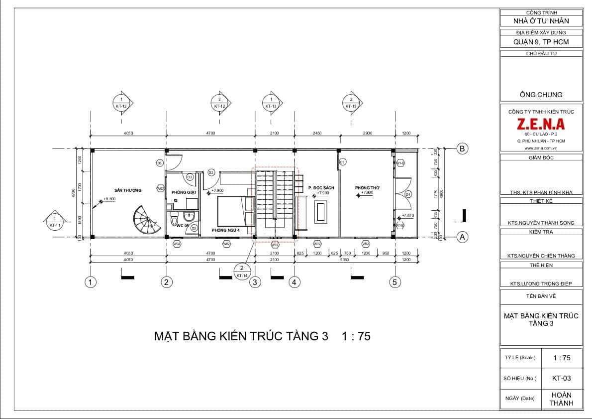 KT MR CHUNG MOI3 - Thiết kế nhà mặt tiền 4.7m anh Chung ở Quận 9, TPHCM