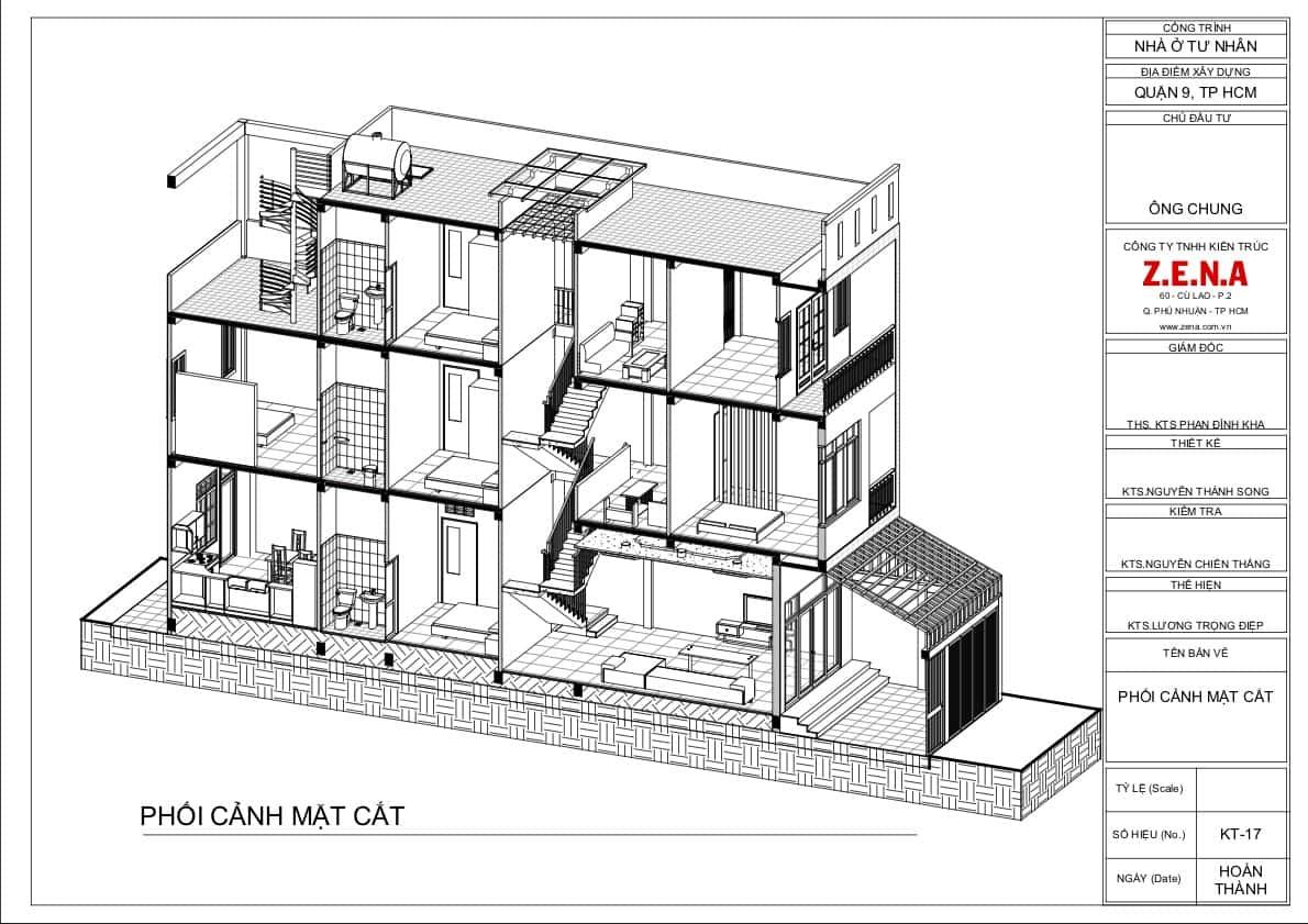 KT MR CHUNG MOI6 - Thiết kế nhà mặt tiền 4.7m anh Chung ở Quận 9, TPHCM
