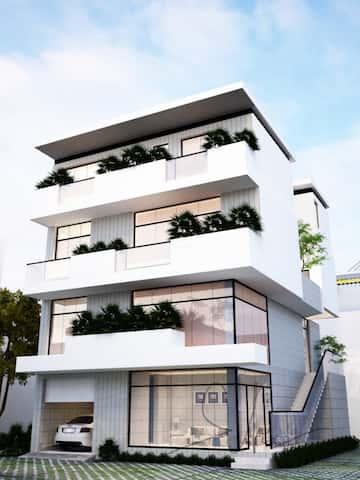 NHA MS TUYET 5 1 - Thiết kế biệt thự hiện đại 3.5 tầng 2 mặt tiền Ms Tuyết Quận 2, TPHCM