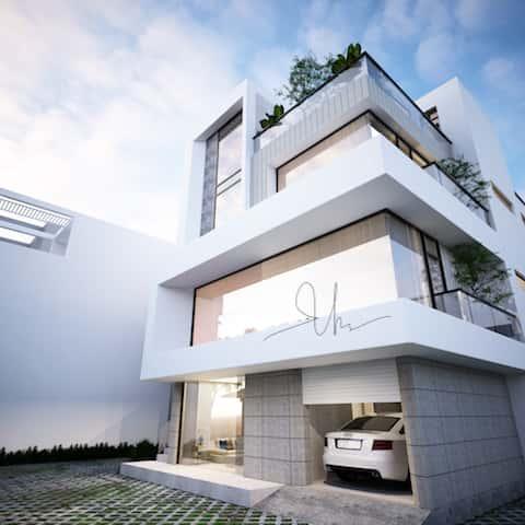 biet thu hie dai 3 tang kts phan dinh kha 1 - Thiết kế biệt thự hiện đại 3.5 tầng 2 mặt tiền Ms Tuyết Quận 2, TPHCM