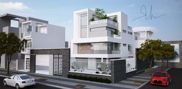 Thiết kế biệt thự hiện đại 3.5 tầng 2 mặt tiền Ms Tuyết Quận 2, TPHCM
