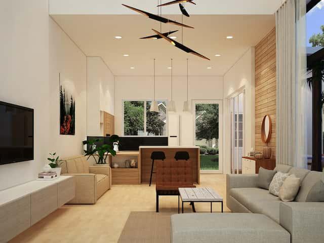 khach bep - Thiết kế biệt thự phố mini 3 tầng kiến trúc hiện đại đẹp