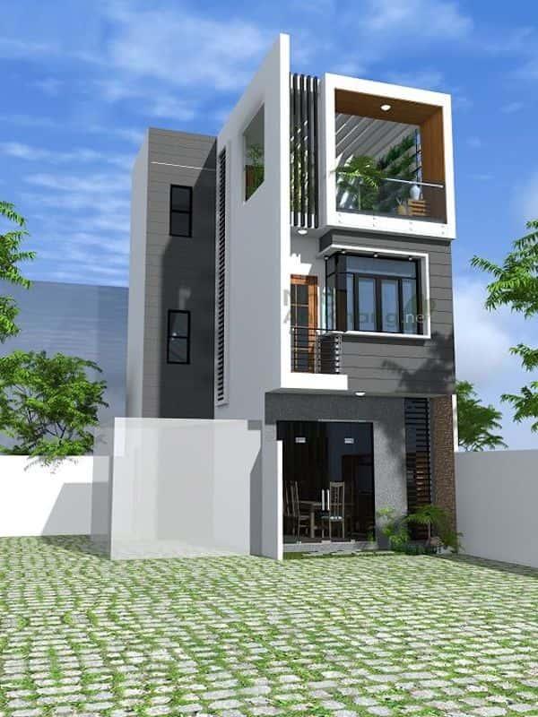 mau nha 3 tang dep 3 - Thiết kế nhà mặt tiền 4.7m anh Chung ở Quận 9, TPHCM
