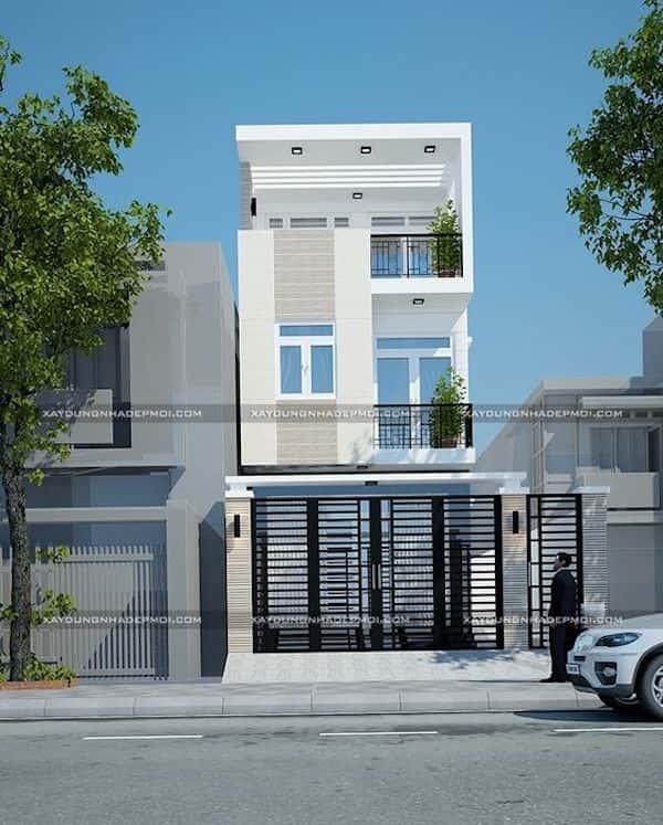 mau nha 3 tang dep l - Thiết kế nhà mặt tiền 4.7m anh Chung ở Quận 9, TPHCM