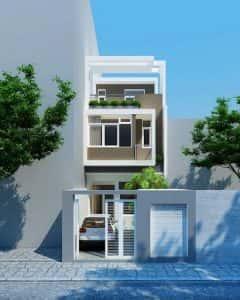 mẫu thiết kế nhà 2 tầng mặt tiền 5m