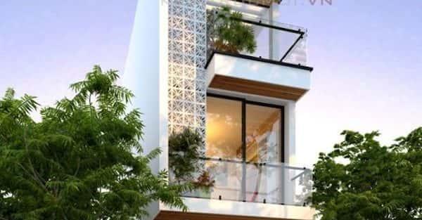 mẫu thiết kế nhà 3 tầng 5 x 17 m có cổng
