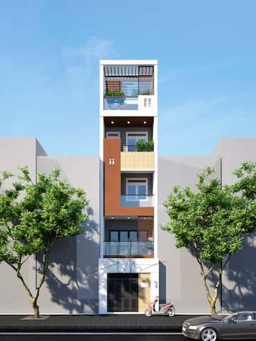 mau nha 5 tang kts phan dinh kha - Thiết kế nhà 5 tầng đẹp hiện đại chị Vân ở quận Bình Thạnh